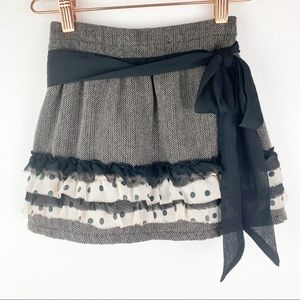 Trish Scully Tiered Ruffles Wool Blend Skirt Bow